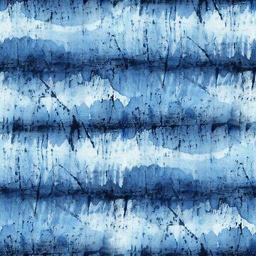 Seamless tie-dye pattern of indigo color on white silk.  Shibori dyeing. by lamarmarina