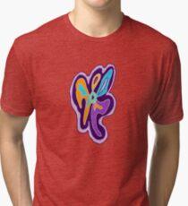 Purple Freeform Flower Tri-blend T-Shirt