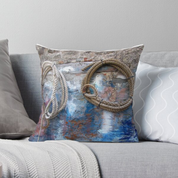 Fishing village - ropes on the wall  Throw Pillow
