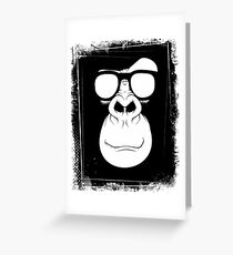 Hipster Monkey with Glasses Black and White Greeting Card