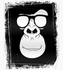 Hipster Monkey with Glasses Black and White Poster