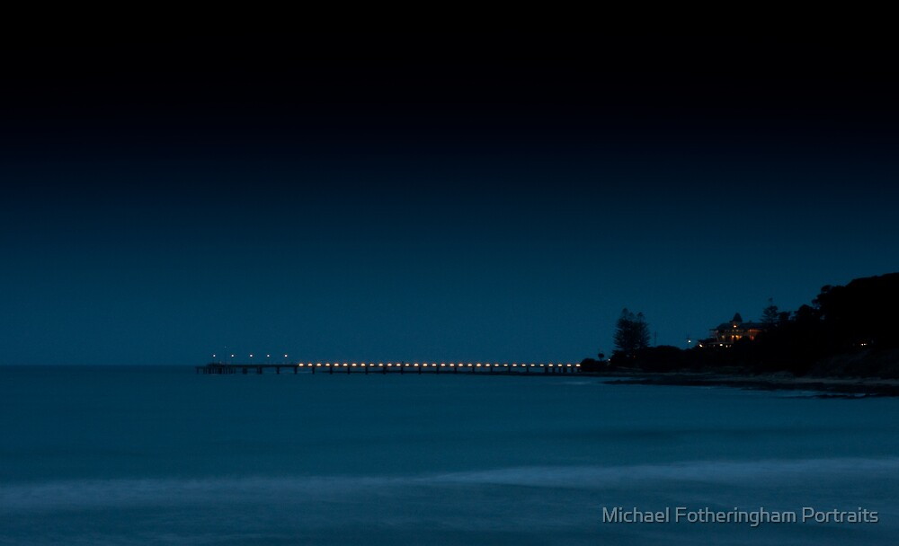 Fog and darkness descend on the Lorne Pier by Michael Fotheringham Portraits