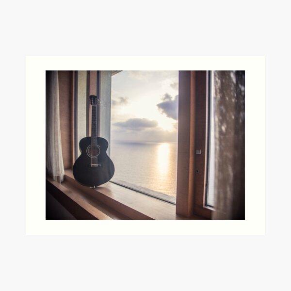 Guitar against the Sunset at Sea Art Print