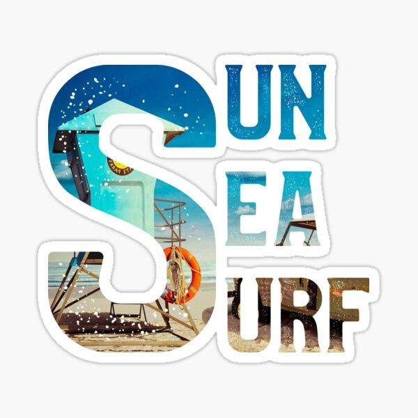 Sun Sea Surf Shirt Summer Vibe Design Sticker