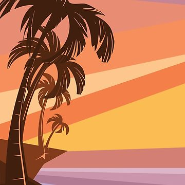 fantasy tropic ocean sunset with palms by JeraRS
