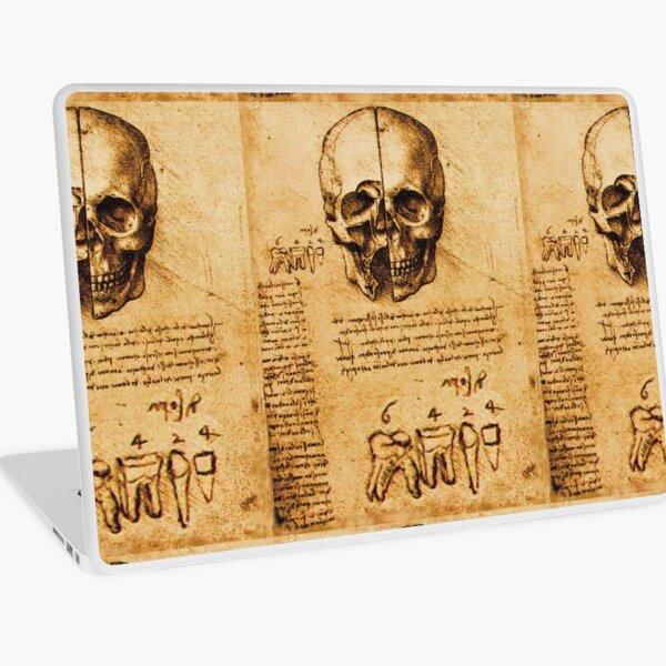 SKULL AND TEETH ,DENTAL PARCHMENT Leonardo  Da Vinci Laptop Skin