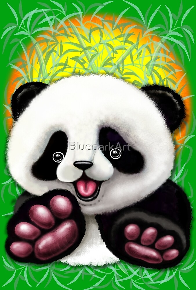 Panda Baby Bear Cute and Happy by BluedarkArt