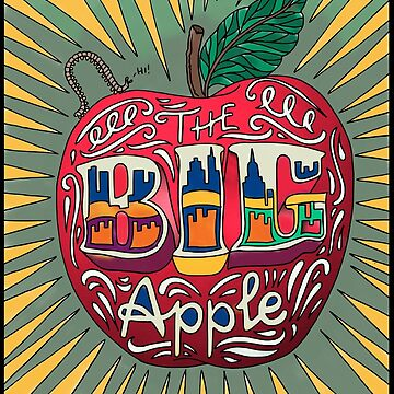 Doodle Art Illustration, The Red Apple (New York) by Yapsalot