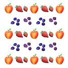 Watercolour Autumn Fruits, Strawberry, Blueberry, Apple and Blackberry by Shelly Still
