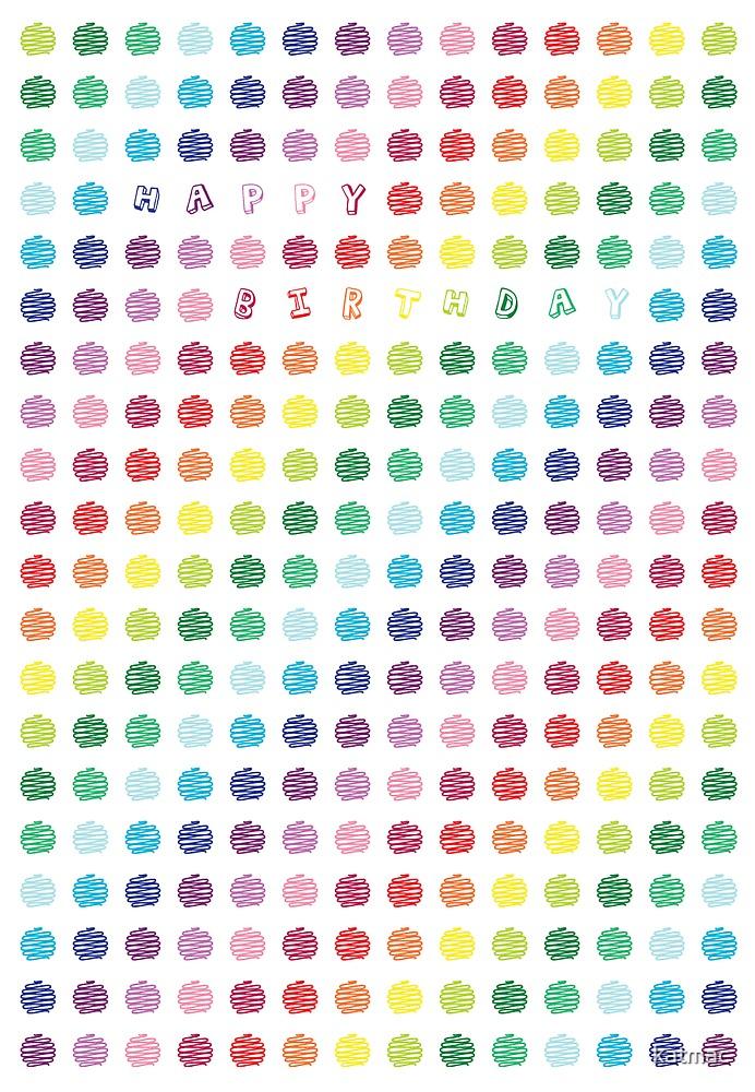 Rainbow dots birthday card by katmac