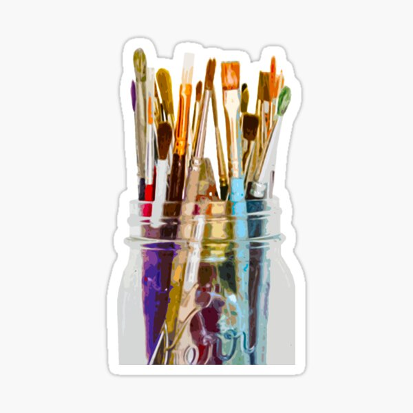 Colourful Paint Brushes Sticker