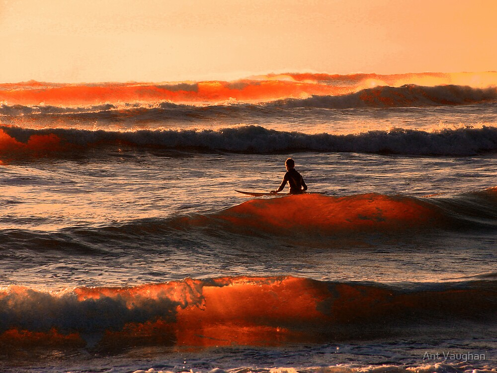 Surf at sunset by Ant Vaughan