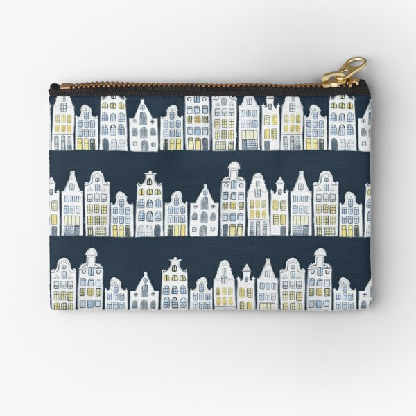 Amsterdam houses on navy blue Zipper Pouch
