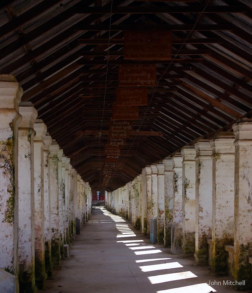 Temple walkway, Burma by John Mitchell