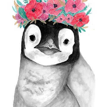 Baby Penguin with Flowercrown - Watercolour Painting by patti2905