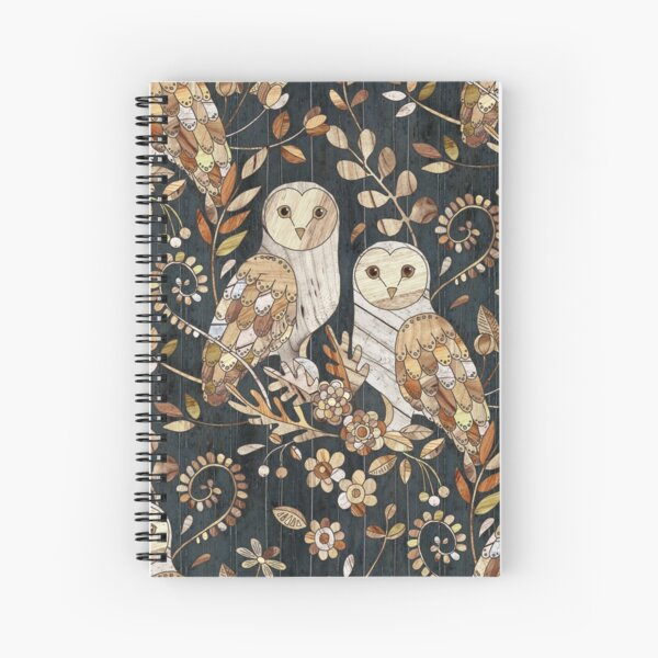 Wooden Wonderland Barn Owl Collage Spiral Notebook