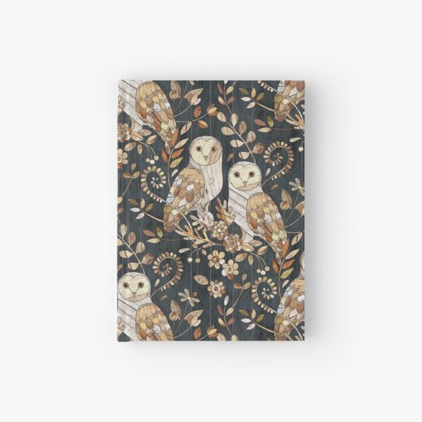 Wooden Wonderland Barn Owl Collage Hardcover Journal