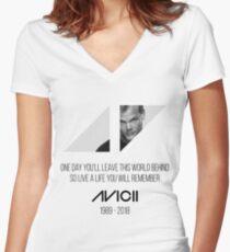 Avicii RIP Women's Fitted V-Neck T-Shirt