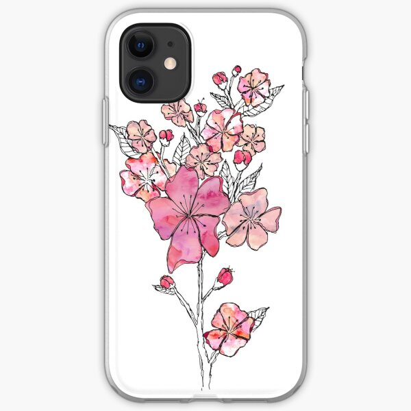 Cherry Blossom Watercolor iPhone Soft Case