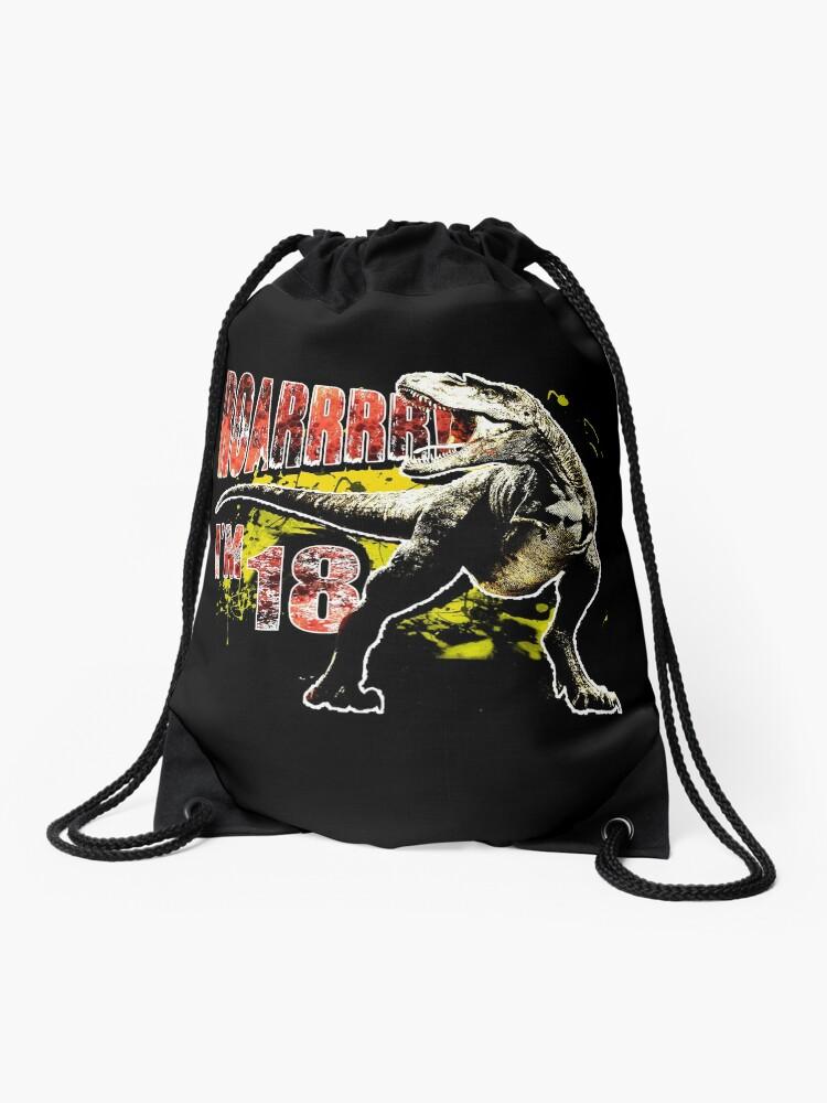 18th Birthday 18 Year Old Dinosaurs Gift Birthday Drawstring Bag By