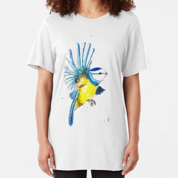 Watercolour Blue Tit  Slim Fit T-Shirt