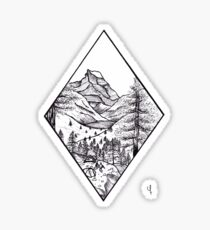 Camping in the Mountains Ink Drawing Sticker