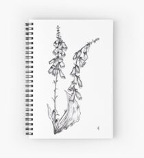 Foxglove Flower Ink Drawing Spiral Notebook