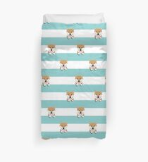 shiba inu stripes dog breed gifts  Duvet Cover