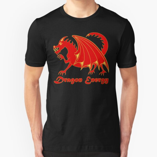 Dragon Energy Red And Gold Cartoon Animal Slim Fit T-Shirt