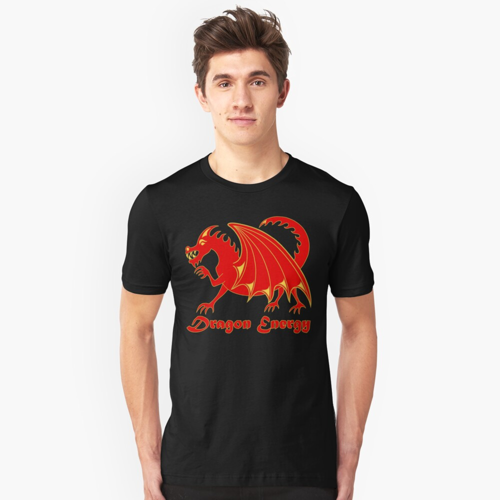 Dragon Energy Red And Gold Cartoon Animal Unisex T-Shirt Front