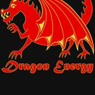 Dragon Energy Red And Gold Cartoon Animal by theartofvikki