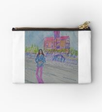 Fashion Illustration: Girl Standing Next to a House Studio Pouch