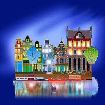 Amsterdam Grachtenhuizen by dave-ulmrolls