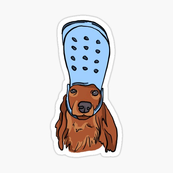Sexy Sausage Dog With Croc Sticker