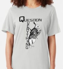 QANON Question Everything White Rabbit Slim Fit T-Shirt