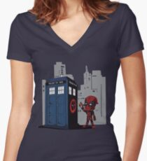 Defacing the Phonebox Women's Fitted V-Neck T-Shirt