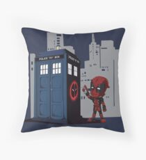 Defacing the Phonebox Throw Pillow