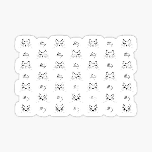 Doodled Cat & Mouse Print Sticker