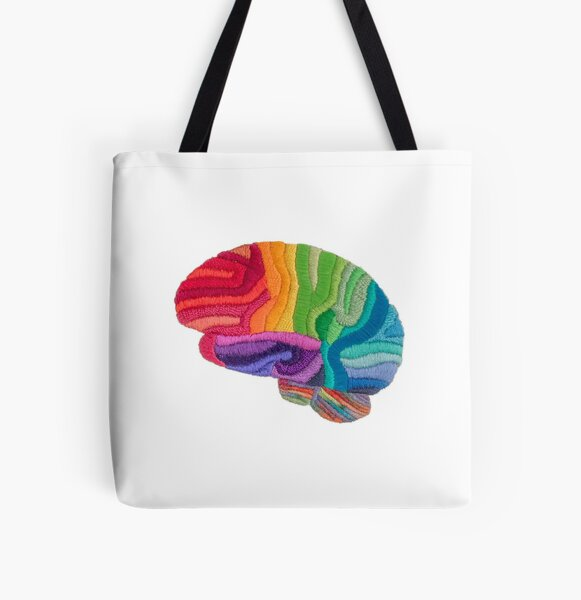 Embroidered Look - Rainbow Brain  All Over Print Tote Bag