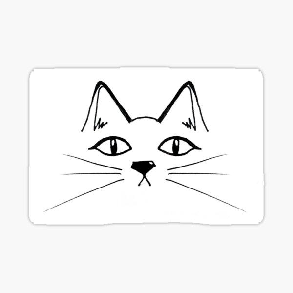 Doodled Cat Face Sticker