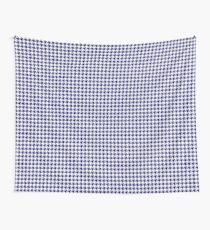Dark Navy Blue and White Houndstooth Check Wall Tapestry