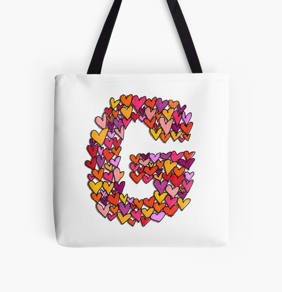Heart Letter G All Over Print Tote Bag