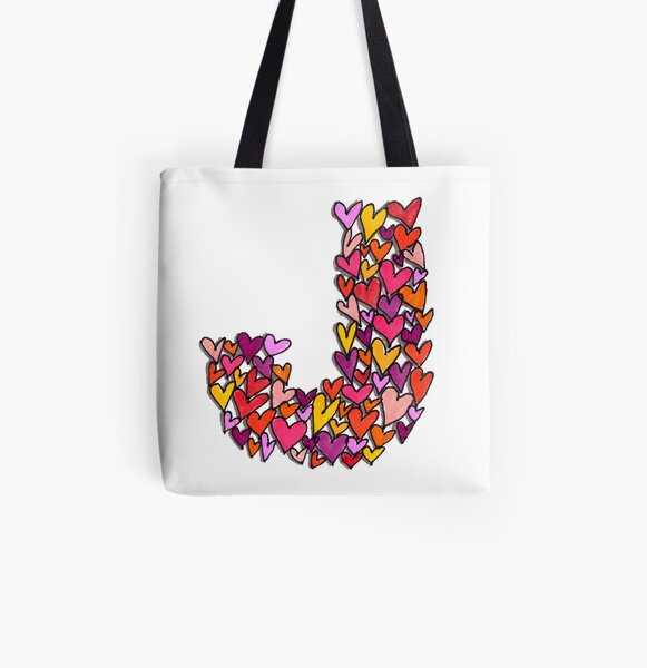 Heart Letter J All Over Print Tote Bag