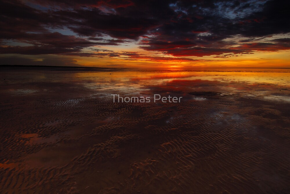 Sunset at Eighty Mile Beach by Thomas Peter