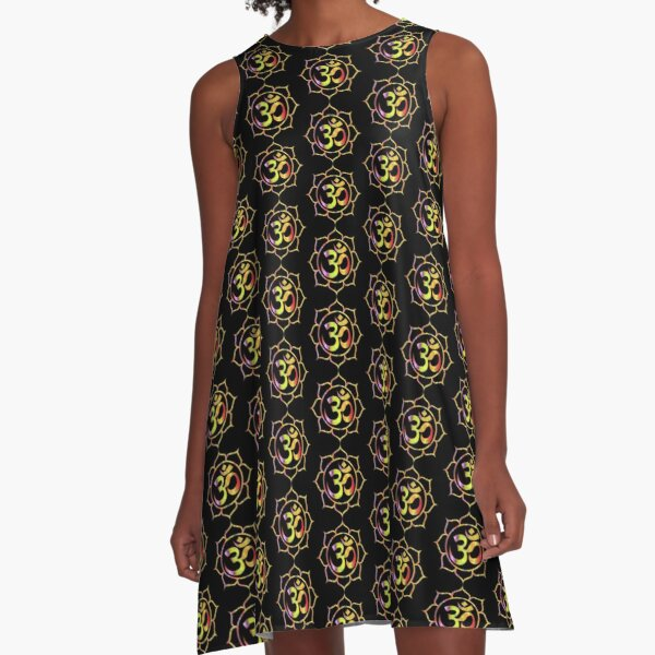 Colourful Lotus Aum A-Line Dress