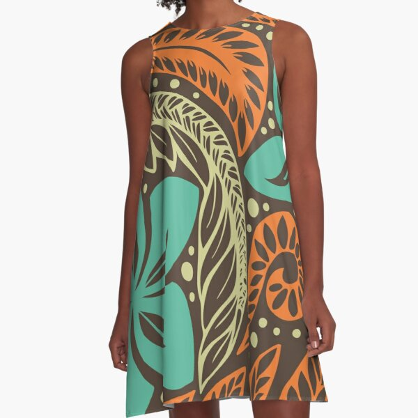 Polynesian Hawaiian brown blue floral tattoo design A-Line Dress