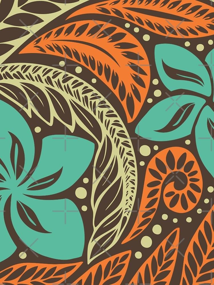 Polynesian Hawaiian brown blue floral tattoo design by AyeletF