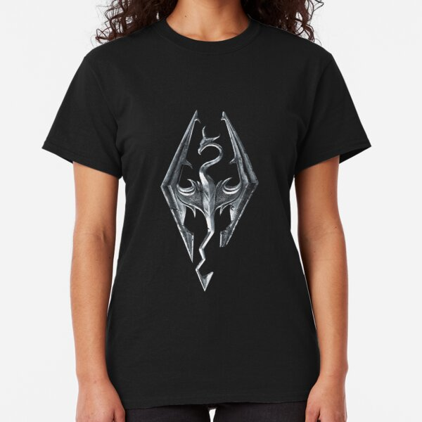 Skyrim Logo - Iron Embossed in Granite Classic T-Shirt