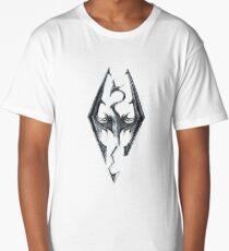 Skyrim Logo - Iron Embossed in Granite Long T-Shirt