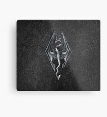 Skyrim Logo - Iron Embossed in Granite Metal Print